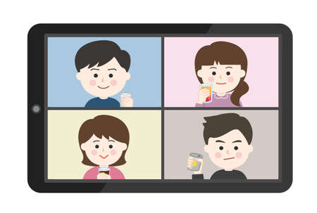 Young people having an online drinking party on tablet or smartphone. Vector illustration isolated on white background. Illusztráció