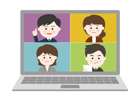 People working from home having an online meeting on laptop. Vector illustration isolated on white background. Illusztráció