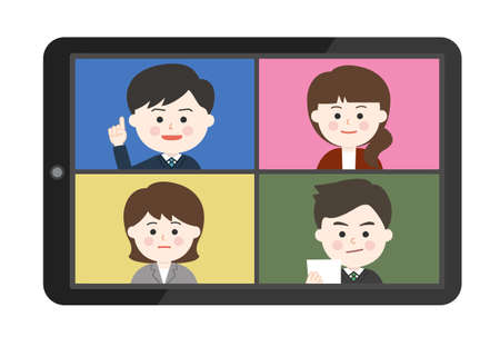 Young men and women working from home having an online meeting on smartphone or tablet. Vector illustration isolated on white background.