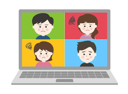 Young people getting stressed from an online party on laptop. Vector illustration isolated on white background.