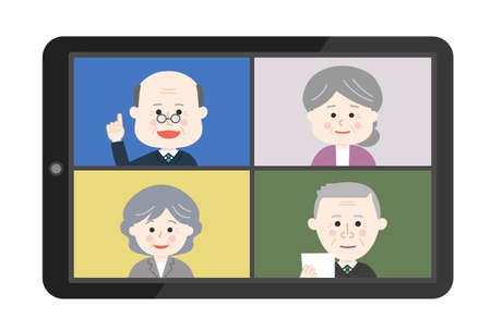 Elderly people working from home having an online meeting on tablet or smartphone. Vector illustration isolated on white background.