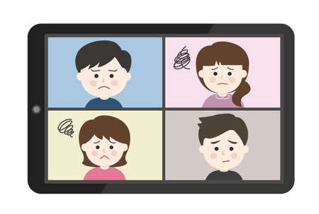 Young people getting stressed from an online meeting on tablet or smartphone. Vector illustration isolated on white background.