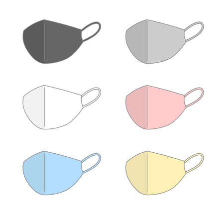 Set of colorful medical masks. Vector illustration isolated on white background.