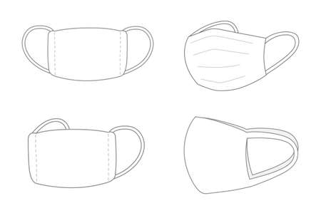 Template set of protective face mask or medical mask. Vector illustration isolated on white background.