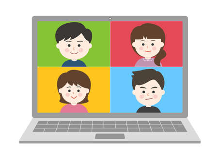 Men and women meeting from home remotely on laptop. Vector illustration isolated on white background.