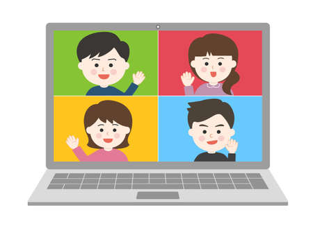 Young people waving their hand an online meeting on laptop. Vector illustration isolated on white background. Illusztráció