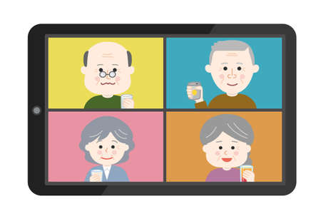 People having an online drinking party on tablet or smartphone. Vector illustration isolated on white background. Illusztráció