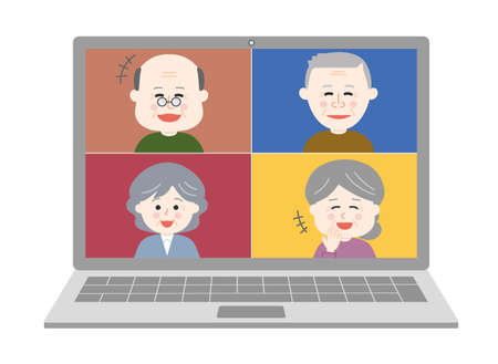 People laughing a lot having an online party on laptop. Vector illustration isolated on white background. Illusztráció