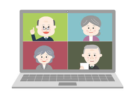 Elderly people working from home having an online meeting on laptop. Vector illustration isolated on white background.
