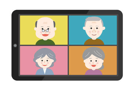 Elderly people meeting from home remotely. Vector illustration isolated on white background.