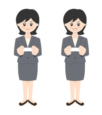 Business woman wearing a skirt with black hair handing over a business card. Vector illustration isolated on white background. Illusztráció