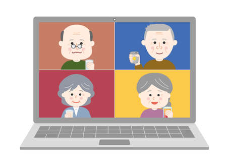 People having an online drinking party on laptop. Vector illustration isolated on white background.