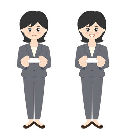 Business woman wearing a pantsuit with black hair handing over a business card. Vector illustration isolated on white background.