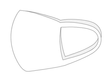 Template of white protective face mask or medical mask. Vector illustration isolated on white background.