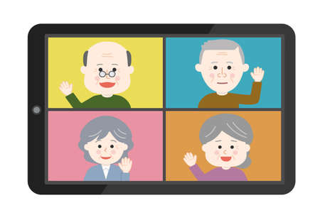 Elderly people waving their hand an online meeting on tablet or smartphone. Vector illustration isolated on white background.