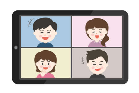 Young people laughing a lot having an online party on smartphone or tablet. Vector illustration isolated on white background. Illusztráció