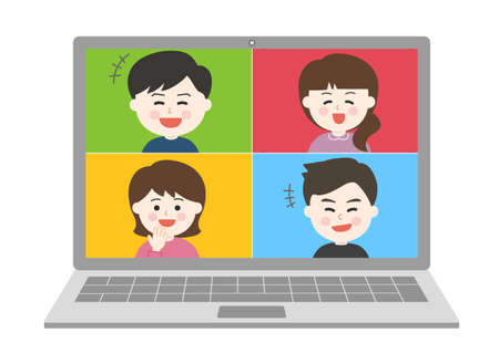 Young people laughing a lot having an online party on laptop. Vector illustration isolated on white background.