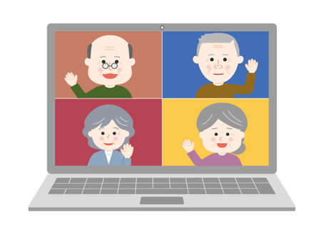 Elderly people waving their hand an online meeting on laptop. Vector illustration isolated on white background.