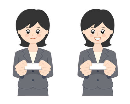 Portrait of business woman with black hair handing over a business card. Vector illustration isolated on white background.