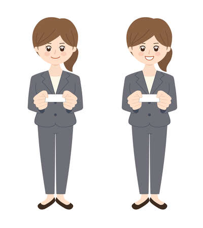 Business woman wearing a pantsuit with brunette hair handing over a business card. Vector illustration isolated on white background. Illusztráció