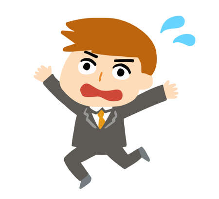 Panicked businessman in a hurry. Vector illustration isolated on white background.