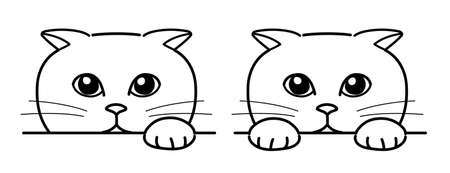 Cat secretly watching over from afar. Line drawing on white background.