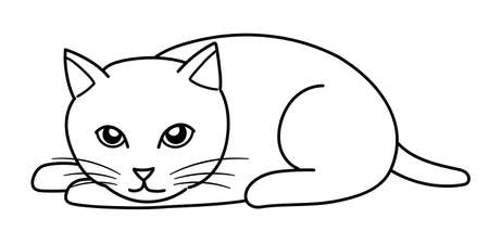Cat lying face down. Line drawing on white background.