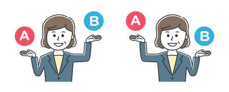 Office worker comparing A and B. Vector illustration isolated on white background.