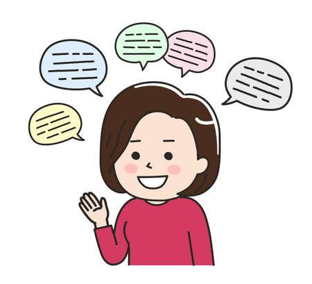 A woman talking too much. Vector illustration isolated on white background. Vektoros illusztráció