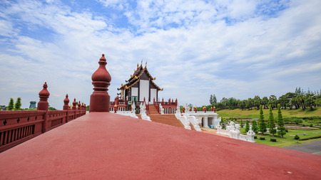 The identity of the temple in the north of the popular tourist destinations in Thailand. Stock Photo