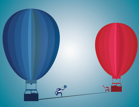 business change: Change challenge and caution business motivational concept as person walking on a tight rope high wire from one hot air balloon to another as taking a risk metaphor for changing position or career.