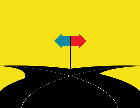 intersection: Concept of choice with crossroads spliting in two ways. Vector flat