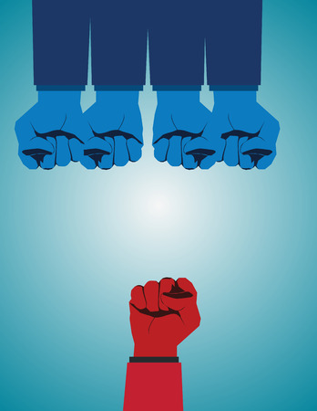 Overcoming adversity and conquering challenges as a group of blue fist gloves ganging up on a single red fist as a business symbol of difficult competition environment. Vector flat