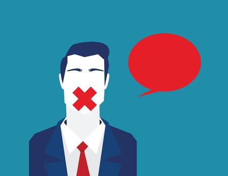 Bloccare la libertà di parlare o di commentare. Libertà chiusa parlando. Illustrazione concetto di business. Vector piatto Vettoriali