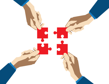 Four hands collect puzzle on a white background. Concept business illustration. Vector flat