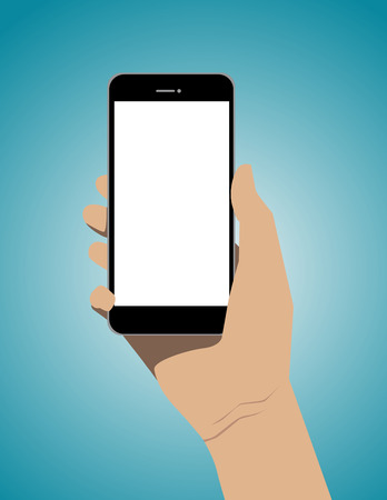 holding smart phone: Hand holding mobile smart phone with blank screen. Concept business illustration. Vector flat Illustration