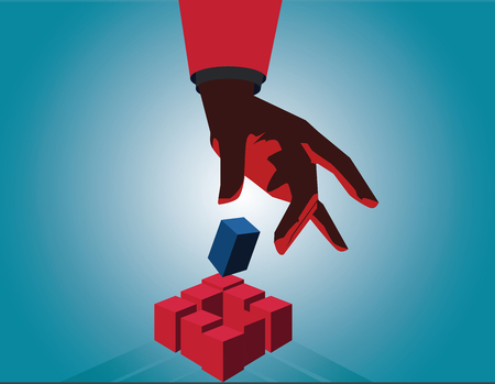 Businessman hand touch cube as symbol of problem solving. Touch red cube. Vector flat Illustration