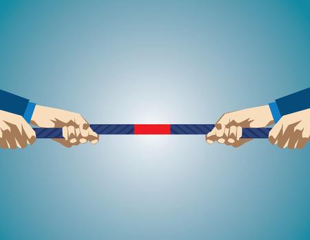 Handen die op kabel Tijdens partijtje touwtrekken. De bedrijfs concurrentie. Concept zaken illustratie. vector flat