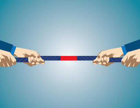 Hands Pulling On Rope During game of tug of war. Business competition. Concept business illustration. Vector flat