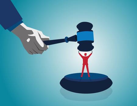 Resolución de un conflicto y la mediación en disputas legales negocio como un concepto con un hombre de negocios o un abogado mazo de juez o martillo como competidores en el arbitraje. vector plana