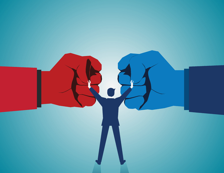 to compromise: Mediate and legal mediation business concept as a businessman or lawyer separating two fist glove opposing competitors as an arbitration success symbol for finding a solution to solve a conflict. Vector flat