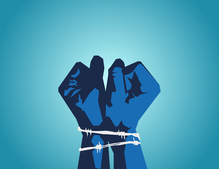 Catch opponents or people of different opinions. Prisoners. Hands tied with barbed wire.  Vector flat