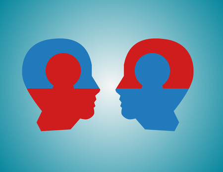 Perfect business partnership as a connecting puzzle shaped as two puzzle in the form of human heads connecting together as a corporate success metaphor for cooperation and agreement as equal partners. Vector flat