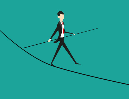 conquering adversity: Balance. Business illustration. Manager balancing on the business graph. Vector flat