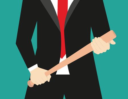 Businessman with baseball bat. Concept business illustration. Vector flat Иллюстрация
