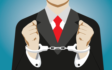 handcuffed: Businessman handcuffed. Concept business illustration. Vector flat Illustration