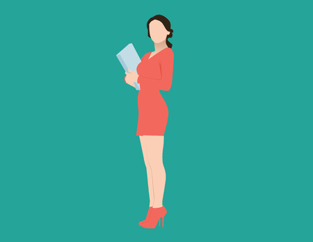 Businesswoman holding folder in isolate background. Concept business illustration. Vector flat