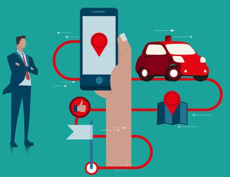 subcompact: Business car mobile application. Concept business illustration. Vector flat