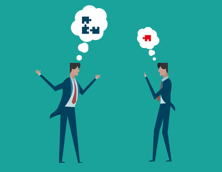 constructive: Businessman constructive dialog. Concept Business illustration. Vector flat