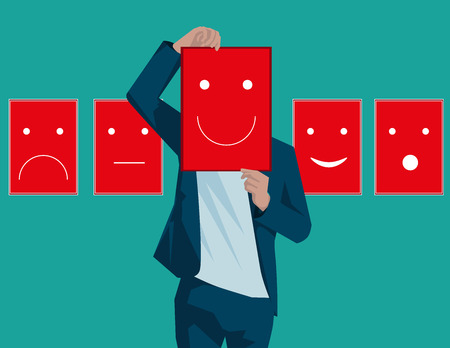 introverted: Disguised emotions, personality, change. Concept business illustration. Vector flat